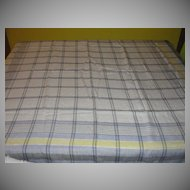Blue and White Plaid w/yellow Stripe Tablecloth - b22