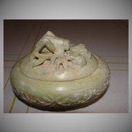 Grasshopper Soapstone Trinket Box - b57