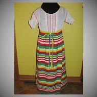 Striped 60's Peasant Dress