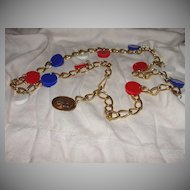 All American Red, White and Blue Gold Tone Chain Belt - Free shipping