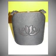 Black on Black Fabric Handbag/Purse - b25