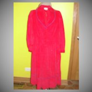 Red Corduroy Shirtwaist dress with Blue Trim