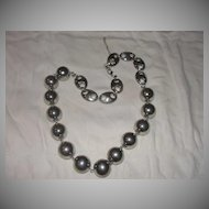 Mirror Bright Silver Tone bead and Link Necklace - Free Shipping