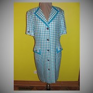 Blue and White Check Coat Dress