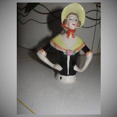 Lady in Bonnet German Pincushion Half Doll - b21