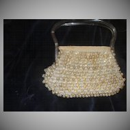 Lucite Handle Crocheted Beaded Handbag - b23