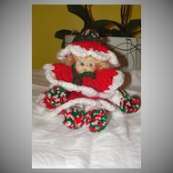 Christmas Doll In Red Crocheted Dress
