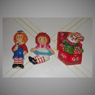 Raggedy Ann and Andy and Jack in The Box Made in Mexico AISA Christmas Ornaments