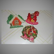 Rocking Horse, House and Reindeer Made in Mexico Aisa Christmas Ornament