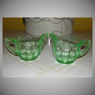 Green Glass Creamer and Sugar Bowl - b26