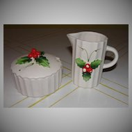Holt and Howard Holly Berry Creamer and Covered Sugar Bowl