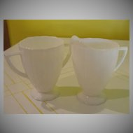 Newport ''Hairpin'' Milk Glass Creamer and Sugar Bowl - b24