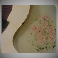"Fenton Hand painted ""Pink Blossom"" on Custard Satin Vase - b27"