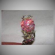 Pretty Pink Aurora Borealis Gold Tone brooch - Free shipping