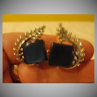 Coro Leaf and Blue Stone Clip-on Earrings. - Free shipping