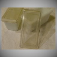 White Milk Glass ''Left-overs'' Containers - b31