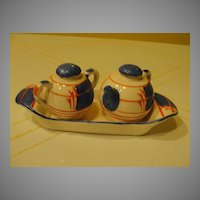 Japanese Tea pot and Jar on Tray Salt and Pepper Shaker - b34