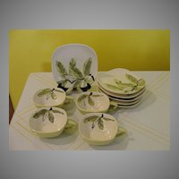 RedWing Magnolia Mid-century Chartreuse Cups and Saucers