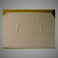 White on White Stripe Round Tablecloth