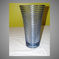 Tall Blue Glass Ribbed Vase - b30