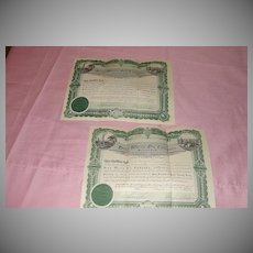 100 Shares deep Wells Oil Co Stock certificate #2510 and #4399
