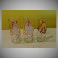 Yosemite Sam or Foghorn Leghorn 1973 Pepsi Glasses - b31