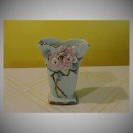 Aqua Blossom Time McCoy Vase - b23