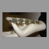 Coro Clusters of Green Rhinestones Flower Bracelet - Free shipping