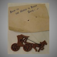 ''Horse and Buggy'' Celluloid Pin on Card - Free shipping