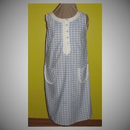 Checked Blue and White 60's Skimmer Dress/shift