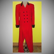 Red Wool with Black Velvet Pant Suit