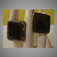 Mid Century Enamel Over Copper Square Cufflinks