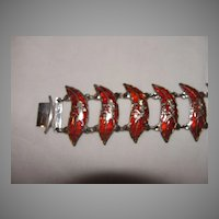 Red Plume Siam Sterling Bracelet - Free shipping
