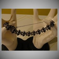 Hearts have It Silver Onyx and Marcasite Bracelet - Free shipping
