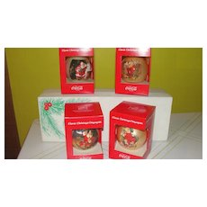 Coke Santa Christmas Ornaments in Box #1 - b41