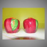 Shiny Red Apple Salt and Pepper Shakers - b38