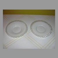 Czech Milk glass with Clear ruffle Plates - b34