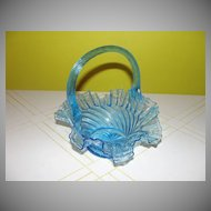 Ruffled Edge Blue Glass Basket - b45