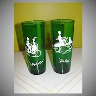 Forest Green ''Gas Buggy'' and ''A Bicycle Built for 2'' Glasses - b38