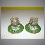 Flower Painted Glass Candleholders - b38