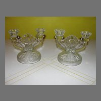 Jeanette Glass Iris and Herringbone 2-Lite Candleholders - b25 - b31 - b43