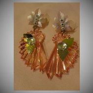 Fan-cy Pink Dangling Pierced earrings - Free shipping