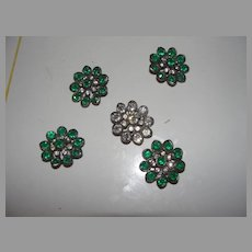 Glorious Green Rhinestone Buttons