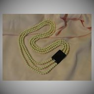Black and Off- White Eternity 3- Strand Necklace - Free shipping