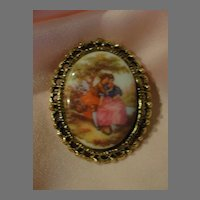 Young Lovers In Filigree Frame Pin/Brooch - Free shipping