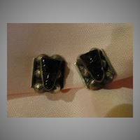Hecho en Mexico Silver Onyx Mask Screw Back Earrings - Free shipping
