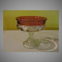 Ruby Flashed Thumbprint King's Crown Footed Compote/candy Dish - b45