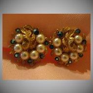 Ledo Faux Pearl and Rhinestone Clip-on Earrings - Free shipping