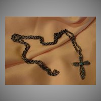 Stone Set on Cross on Long Chain Necklace - Free shipping