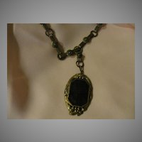 Lady in Profile Black Cameo on Fancy link Chain - Free shipping